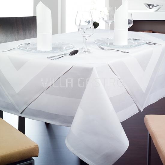 Madlene Premium Damast Tischwäsche WEISS — Atlaskante Teil 1