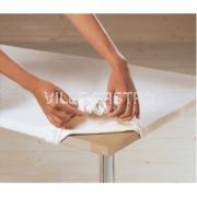 Tischmolton mit Gummizug und Schaube - weiss