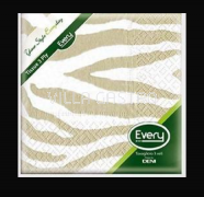 Servietten Cocktail Deni Tissue, 3-lagig, 1/4 Falz, Zebra Sand