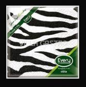 Servietten Cocktail Deni Tissue, 3-lagig, 1/4 Falz, Zebra Schwarz