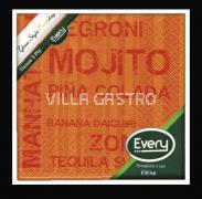 Servietten Cocktail Deni Tissue, 3-lagig, 1/4 Falz, Mojito Orange