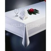 Premium Vollzwirn-Damast Tischwäsche WEISS — Atlaskante