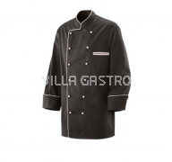 Kochjacken schwarz mit farbiger Paspelierung, 2er Pack