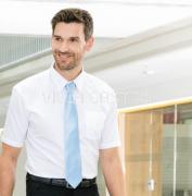 Oberhemd mit kurzem Arm, Weiss, Mischgewebe pflegeleicht
